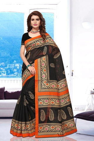 Black Color Art Silk BhagalPuri Saree - APHB2007