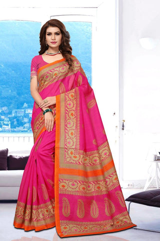 Pink Color Art Silk BhagalPuri Saree - APHB2008