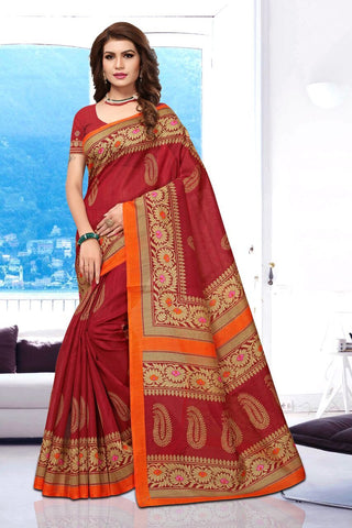Red Color Art Silk BhagalPuri Saree - APHB2009