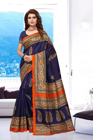 Blue Color Art Silk BhagalPuri Saree - APHB2011