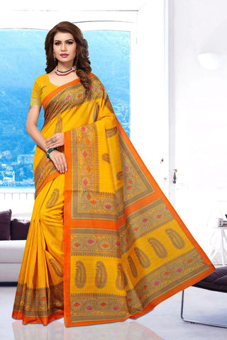 Yellow Color Art Silk BhagalPuri Saree - APHB2012