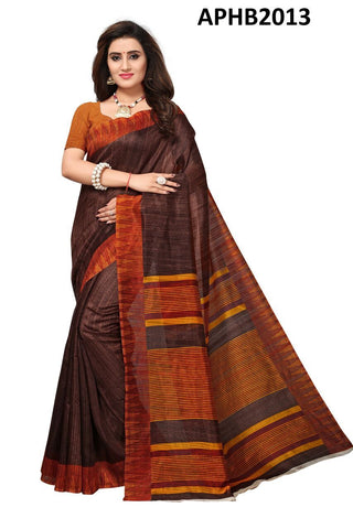 Coffee Color Art Silk BhagalPuri Saree - APHB2013