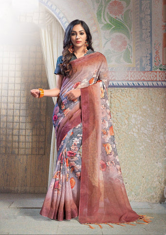 Grey and Brown Color Pure Linen Saree - ARDHN23009