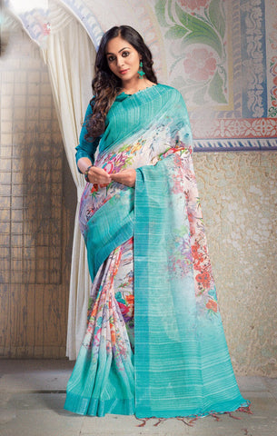 Sea Green Color Pure Linen Saree - ARDHN23012