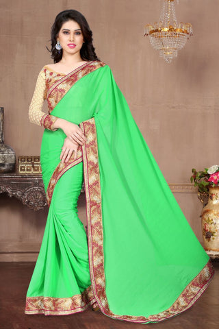 Pista Color Sai Chiffon Saree - ARENA-1023