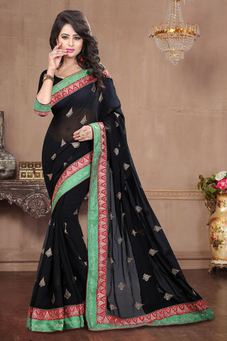 Black Color Chiffon Saree - ARENA-1025