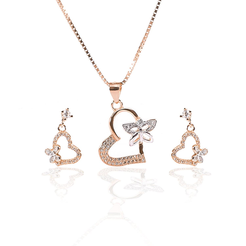 Rose Gold Color Pure Sterling Silver Pendant Necklace and Earrings Set - ARJW1003RG
