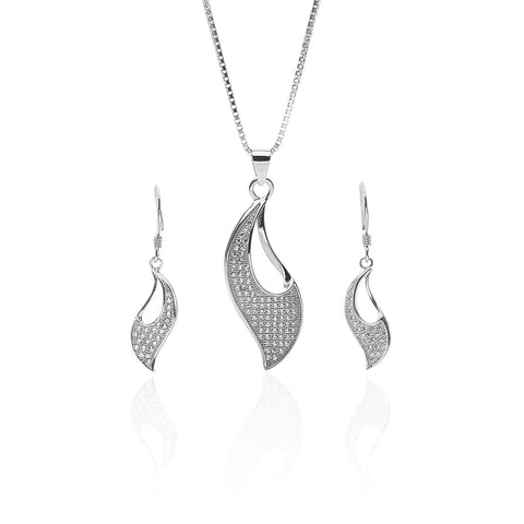 Rose Gold Color Pure Sterling Silver Pendant Necklace and Earrings Set - ARJW1006GD-RG