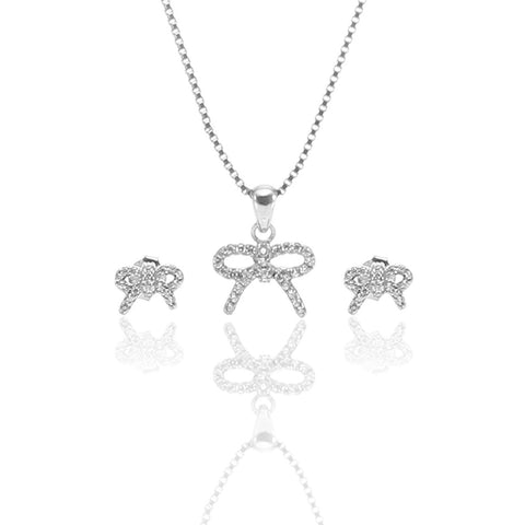 Rhodium Color Pure Sterling Silver Pendant Necklace and Earrings Set - ARJW1010RD