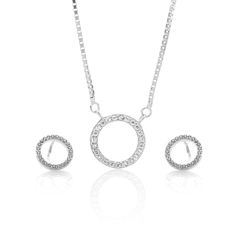 Rhodium Color Pure Sterling Silver Pendant Necklace and Earrings Set - ARJW1015RD