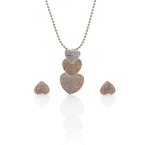 Rose Gold Color Pure Sterling Silver Pendant Necklace and Earrings Set - ARJW1020RG