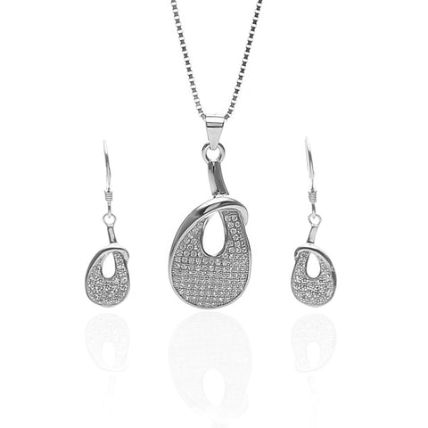 Rose Gold Color Pure Sterling Silver Pendant Necklace and Earrings Set - ARJW1023RG