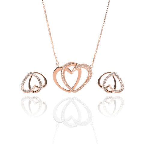 Rose Gold Color Pure Sterling Silver Pendant Necklace and Earrings Set - ARJW1025RG