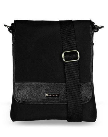 Black Color Pure Leather Men's Cross Body Sling Bag - ARSB1001BK