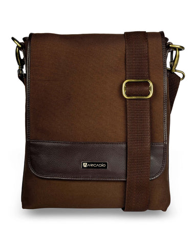 Brown  Color Pure Leather Men's Cross Body Sling Bag - ARSB1001BR