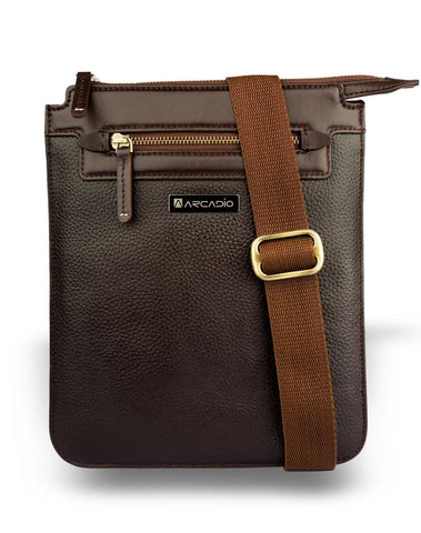 Brown  Color Pure Leather Men's Cross Body Sling Bag - ARSB1002BR