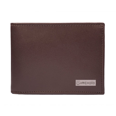 Brown  Color Pure Leather Men's Wallet - ARW1002BR