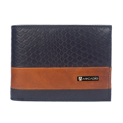 Navy Color Pure Leather Men's Wallet - ARW1005NY