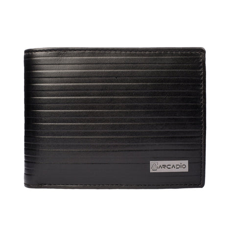 Black Color Pure Leather Men's Wallet - ARW1006BK