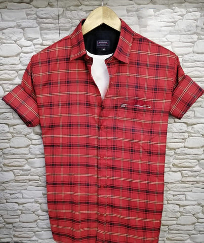 Red Color Pure Cotton Checked Men Shirt - AS-2