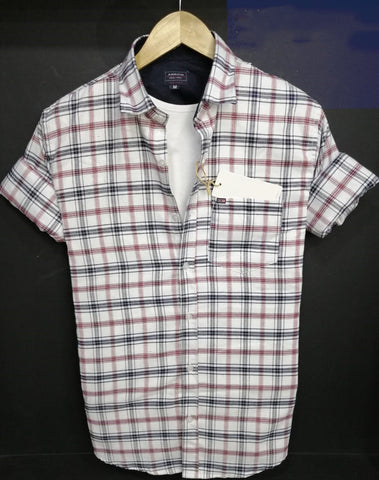 White Color Pure Cotton Checked Men Shirt - AS-3