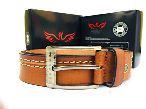 Brown Color Genuine Leather Men Belt - ASFB002