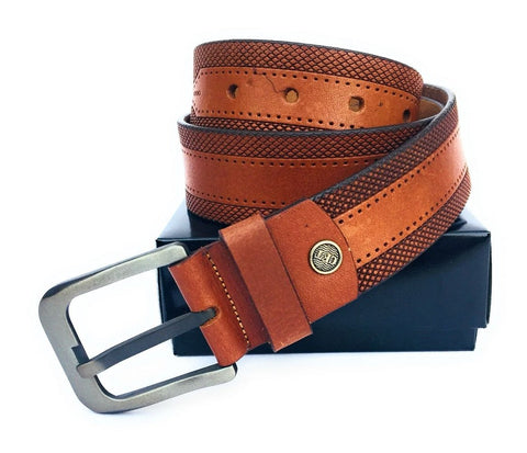 Brown Color Genuine Leather Men Belt - ASFB004
