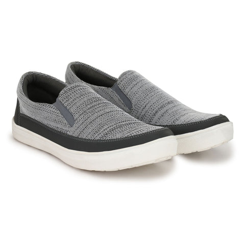 Grey Color Jaquard Casual Shoes  - ASP10G