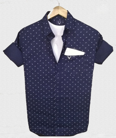 Navy Blue Color Pure Cotton Men's Shirt - ASS-1