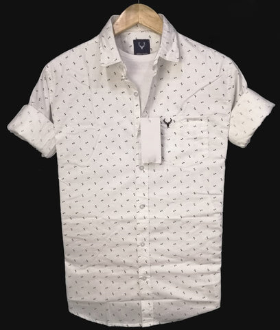White Color Pure Cotton Men's Shirt - ASS-2