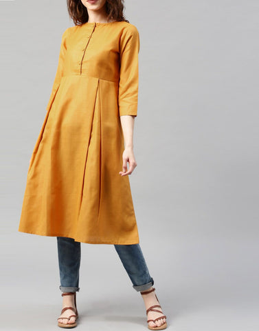 Yellow Color Cotton Stitched Kurti - ATKSS17Q2KU01