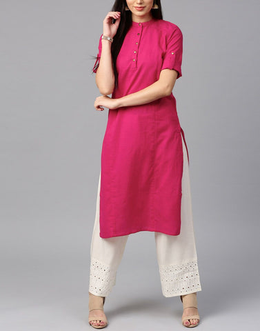 Pink Color Cotton Stitched Kurti - ATKSS17Q2KU02