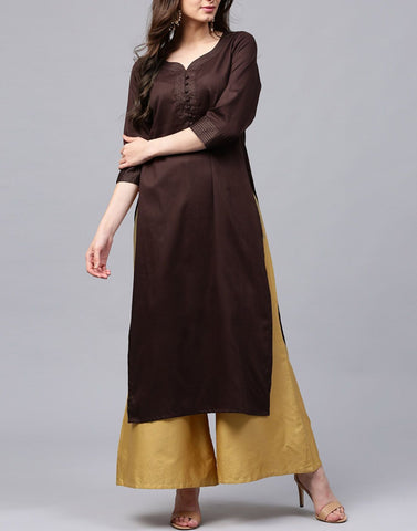 Brown Color Cotton Stitched Kurti - ATKSS17Q2KU06