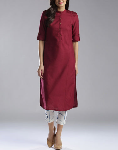 Maroon Color Cotton Stitched Kurti - ATKSS17Q2KU08