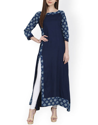 Blue Color Cotton Stitched Kurti - ATKSS17Q2KU09