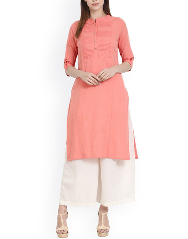 Pink Color Cotton Stitched Kurti - ATKSS17Q2KU10