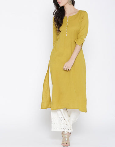 Yellow Color Cotton Stitched Kurti - ATKSS17Q2KU11