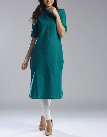 Pine Green Color Cotton Stitched Kurti - ATKSS17Q2KU13