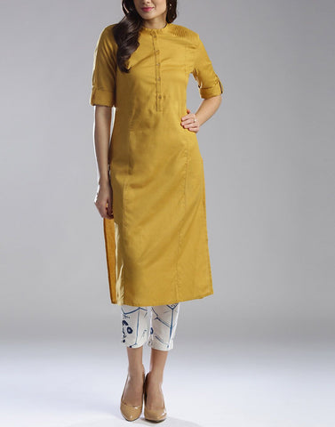 Yellow Color Cotton Stitched Kurti - ATKSS17Q2KU14