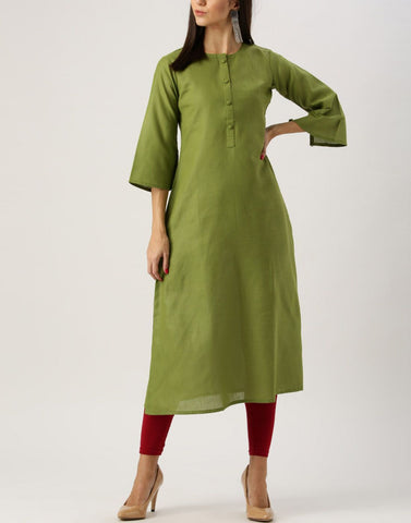 Light Olive Green Color Cotton Stitched Kurti - ATKSS17Q2KU15