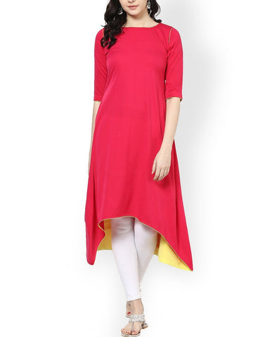 Pink Color Cotton Stitched Kurti - ATKSS17Q2KU19