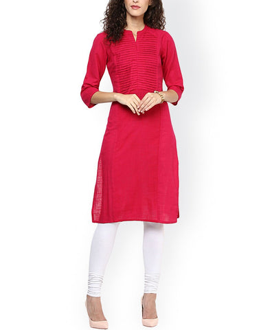 Pink Color Cotton Stitched Kurti - ATKSS17Q2KU20