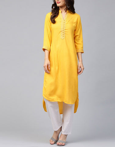 Yellow Color Rayon Stitched Kurti - ATKSS17Q2KU22