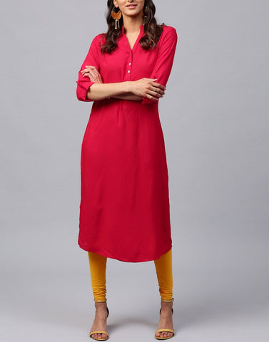 Red Color Rayon Stitched Kurti - ATKSS17Q2KU23