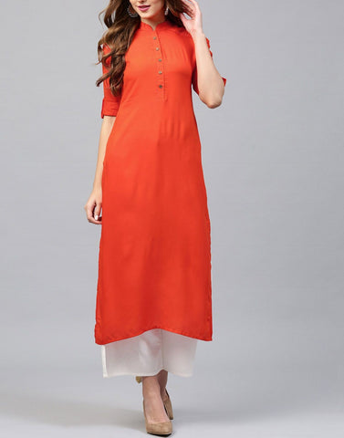 Orange Color Rayon Stitched Kurti - ATKSS17Q2KU27