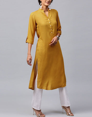 Yellow Color Cotton Stitched Kurti - ATKSS17Q2KU28