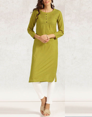 Olive Green Color Cotton Stitched Kurti - ATKSS17Q2KU29