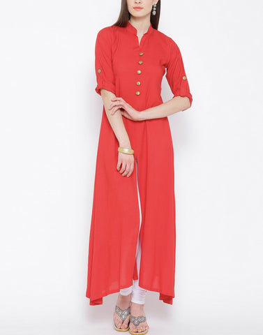 Red Color Rayon Stitched Kurti - ATKSS17Q2KU30