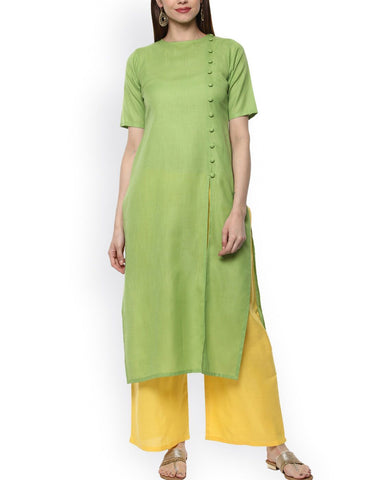 Green Color Cotton Stitched Kurti - ATKSS17Q2KU31