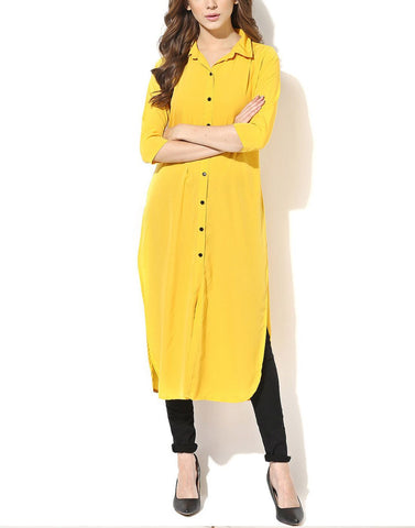 Yellow Color Rayon Stitched Kurti - ATKSS17Q2KU34